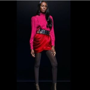 Red satin skirt Balmain